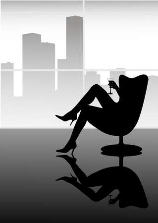 hairdo: silhouette of the girl with a wine glass