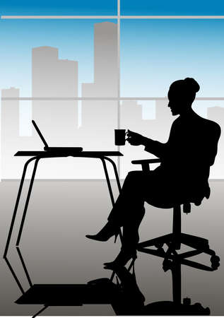sit shape: The pictures show a silhouette of a lady at a computer