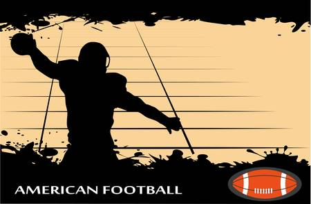 man in field: on the image the player in the American football against grunge is presented Illustration