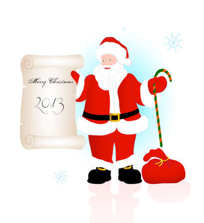 on the image Santa Claus congratulating on a holiday is presented Vector