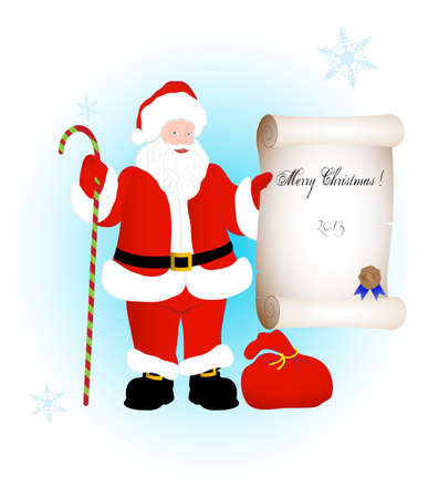 congratulating: on the image Santa Claus congratulating on a holiday is presented