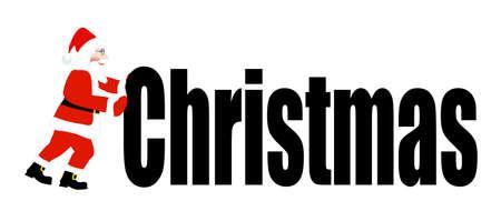 pushes: Santa Claus pushes a word Christmas