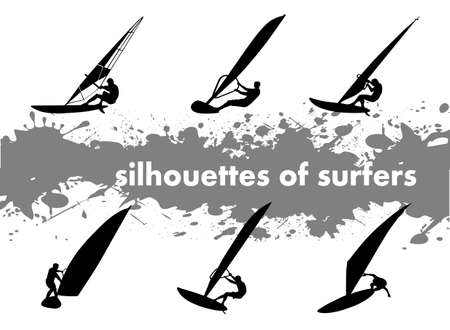 on the image the silhouette of surfers is presented Stock Vector - 16530954