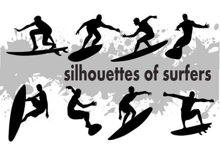 on the image the silhouette of surfers is presented Vector