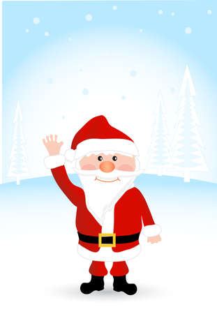 white bacjground: on the image cheerful Santa Claus is presented