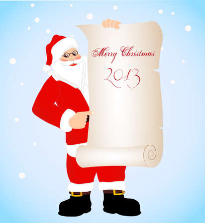 on the image cheerful Santa Claus is presented with a banner Stock Vector - 16530963