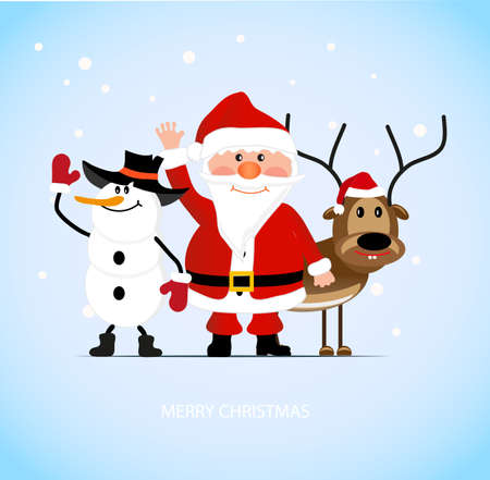 the animated film: on the image Santa Claus with a cheerful deer and a snowman is presented