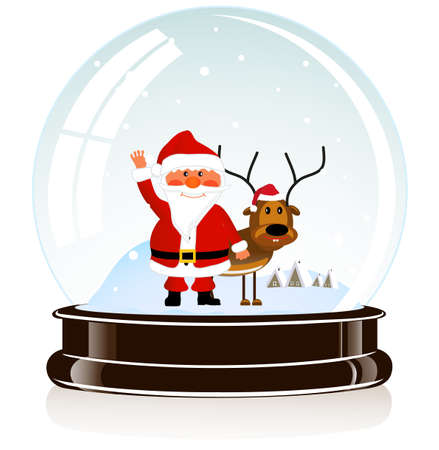 on the image the sphere with Santa Claus and a deer in eps 10 is presented Stock Vector - 16579010