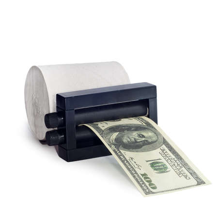 on the image the press of dollars from toilet paper is presented Stock Photo - 16691003