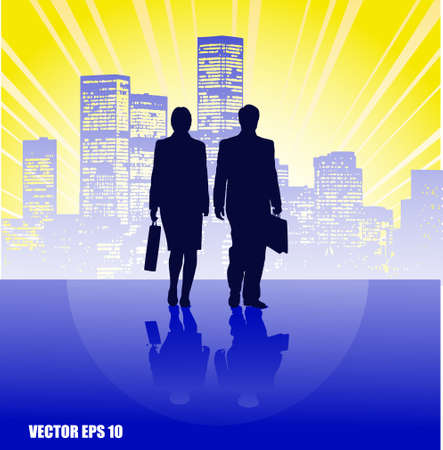 on the image silhouettes of people of business against the city are presented Stock Vector - 16759410