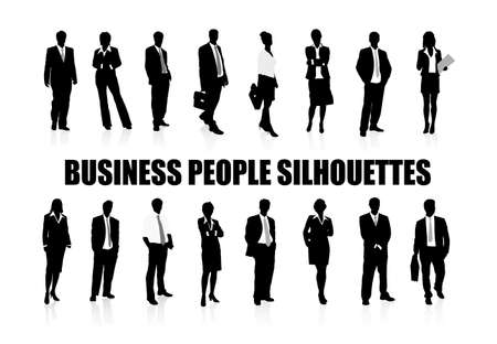 on the image silhouettes of business people are presented Illustration