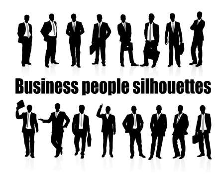 on the image silhouettes of business people are presented Vector