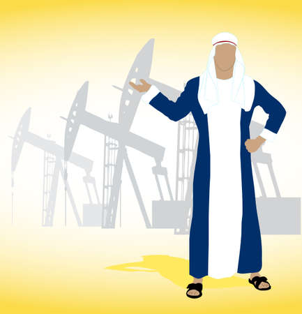 wells: on the image the Arab sheikh against oil wells is presented