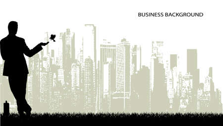 megalopolis: on the image the silhouette of the businessman on an abstract background is presented Illustration