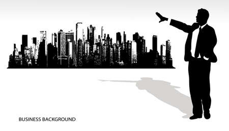 on the image the silhouette of the businessman on an abstract background is presented Vector