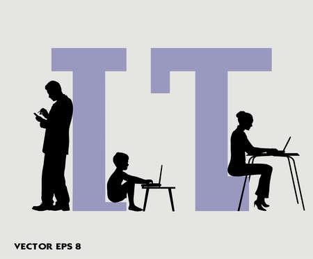 cuadro sinoptico: en la imagen de la persona en el ordenador se presenta Vectores