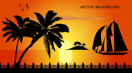 on the image the tropical coast at sunset is presented Vector