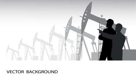 constructed: silhouette of the engineer against oil production Illustration
