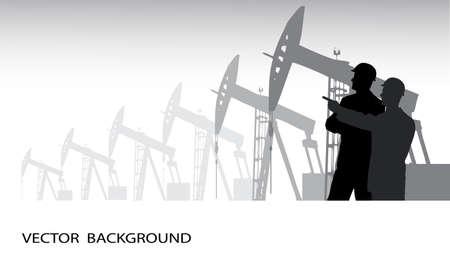 trabajador petrolero: silueta del ingeniero en contra de la producción de petróleo