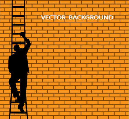 which: on the image the businessman going on a ladder against a wall is presented