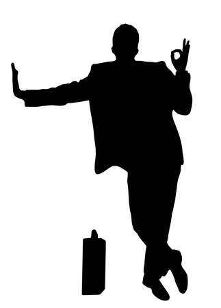 on the image the silhouette of the successful businessman is presented Vector
