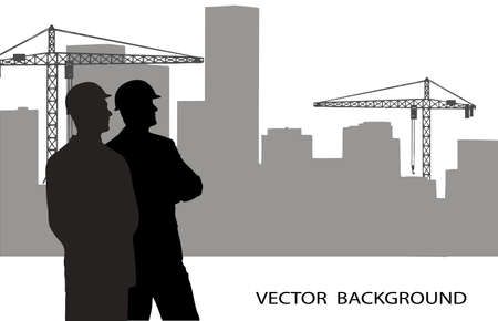 on the image are presented the engineer against construction Vector