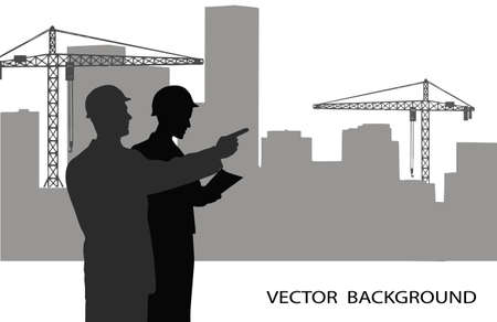 construction management: on the image are presented the engineer against construction