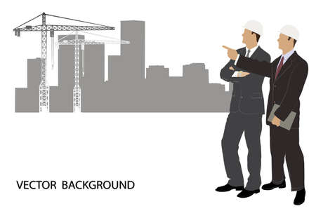 building activity: on the image are presented the engineer against construction