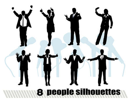 cool man: on the image silhouettes of businessmen in movement are presented