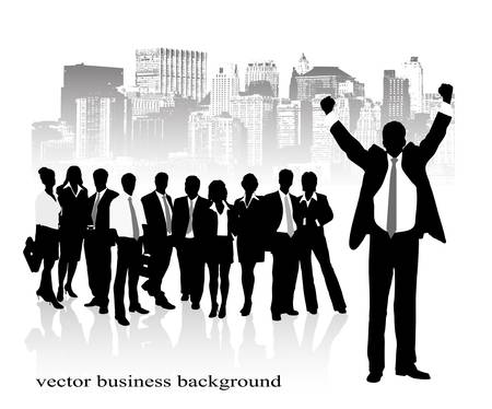 on the image the group of businessmen against the city is presented Vector