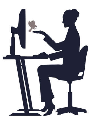 working animals: on the image the girl at the computer is presented feeds a bird