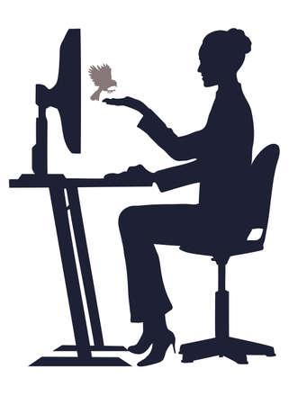 ligotage: sur l'image de la fille � l'ordinateur est pr�sent� nourrit un oiseau