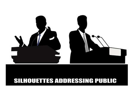 on the image the politician before a microphone is presented Vector