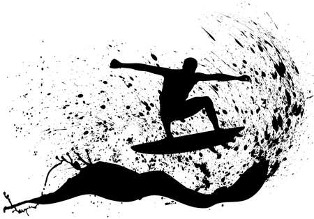 surf silhouettes: on the image the silhouette of surfers is presented Illustration