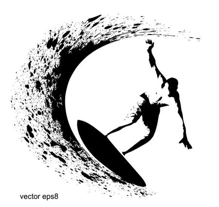 Surfer silhouette on grunge background Stock Vector - 17014097