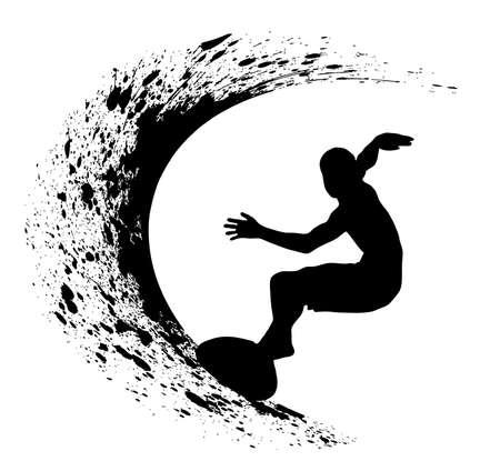 surfeur: Surfer silhouette sur le fond grunge