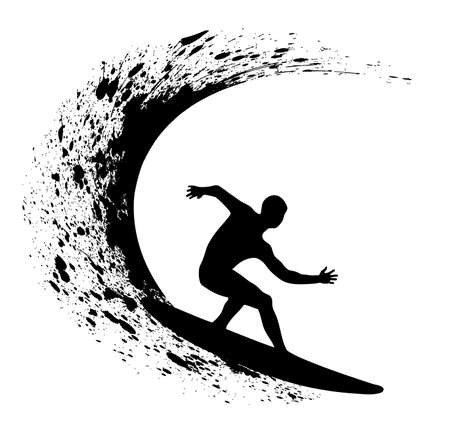Surfer silhouette on grunge background Stock Vector - 17014070