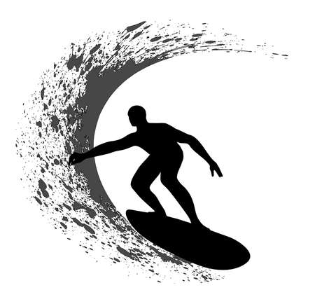 surf silhouettes: Surfer silhouette on grunge background Illustration