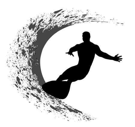 surf silhouettes: Surfer silhouette su sfondo grunge Vettoriali