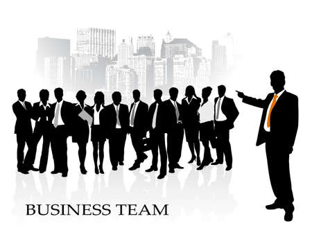 crowd silhouette: on the image the group of businessmen against the megalopolis is presented Illustration