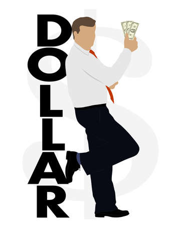 animated film: on the image the businessman with dollars is presented