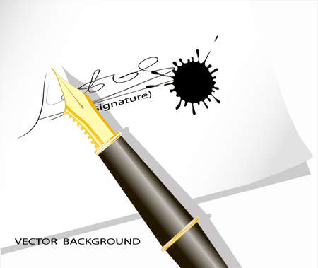 on the image the signature on a sheet of paper is submitted Stock Vector - 17107948