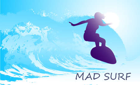 on the image the surfer on waves is presented Vector
