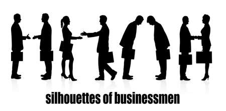 on the image silhouettes a meeting of business people are presented Vector