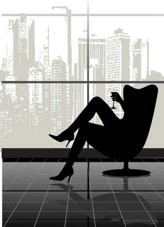 ruby house: on the image the silhouette of the woman in a chair with a glass against the city is presented Illustration