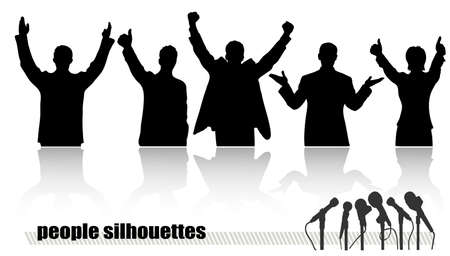 looking away: silhouettes of businessmen in movement Illustration