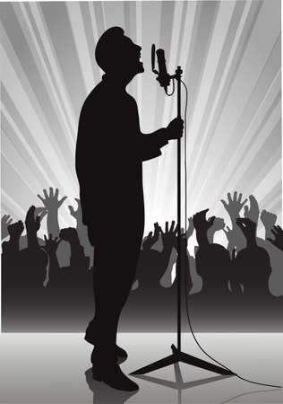 admirer: on the image the performer with a microphone on a scene is presented