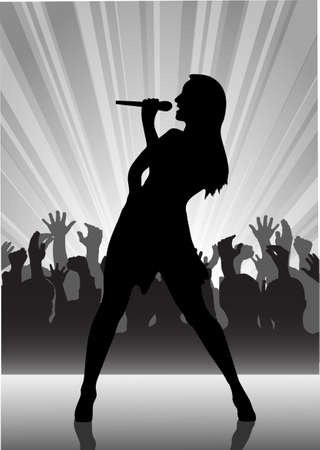 on the image the performer with a microphone on a scene is presented Vector