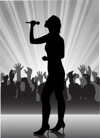 person shined: on the image the performer with a microphone on a scene is presented