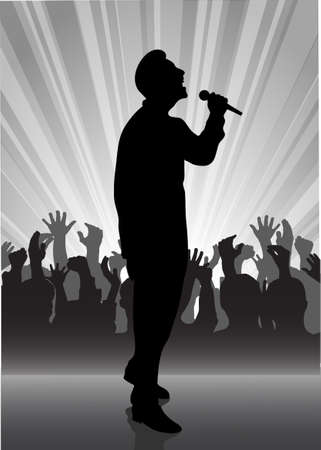 on the image the performer with a microphone on a scene is presented Stock Vector - 17157208